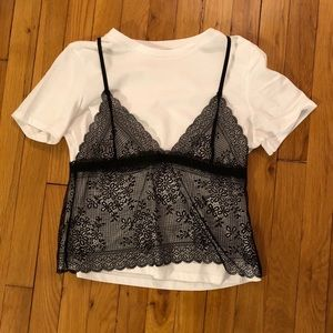 White tee shirt layered with black lace tank top